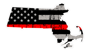 Thin Red line decal - State of Massachusetts Thin Red Line Grey tattered Flag Decal - Various Sizes