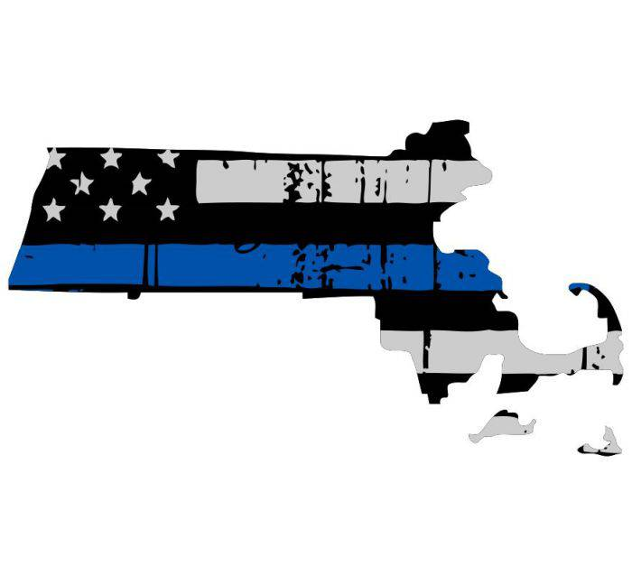 Thin Blue line decal - State of Massachusetts Thin Blue Line Grey tattered Flag Decal - Various Sizes