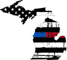 Thin Blue Red line decal - State of Michigan tattered Flag Decal - Various Sizes