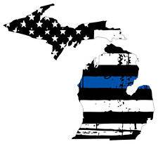 Thin Blue line decal - State of Michigan Tattered Flag Decal - Various Sizes