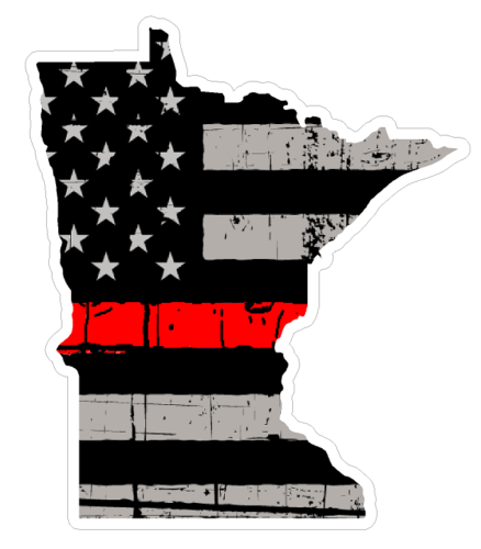 Thin Red line decal - State of Minnesota Grey Tattered Flag - Various Sizes