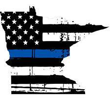 Thin Blue line decal - State of Minnesota Tattered Flag Decal - Various Sizes