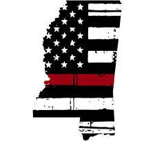 Thin Red line decal - State of Mississippi Tattered Flag - Various Sizes