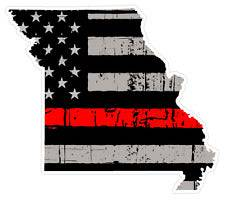 Thin Red line decal - State of Missouri Grey Tattered Flag - Various Sizes