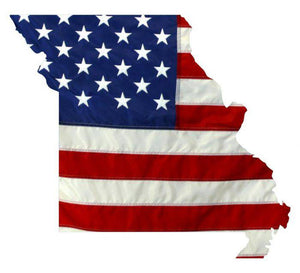 State of Missouri Realistic American Flag Window Decal - Various Sizes