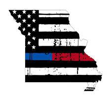 Thin Blue Red line decal - State of Missouri tattered Flag Decal - Various Sizes