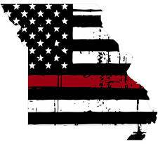 Thin Red line decal - State of Missouri Tattered Flag - Various Sizes