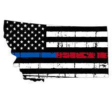 Thin Blue Red line decal - State of Montana tattered Flag Decal - Various Sizes