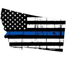 Thin Blue line decal - State of Montana Tattered Flag Decal - Various Sizes