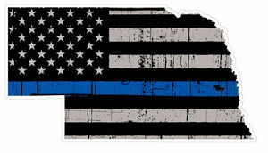 Thin Blue line decal - State of Nebraska Grey Tattered Flag Decal - Various Sizes