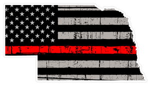 Thin Red line decal - State of Nebraska Grey Tattered Flag Decal - Various Sizes