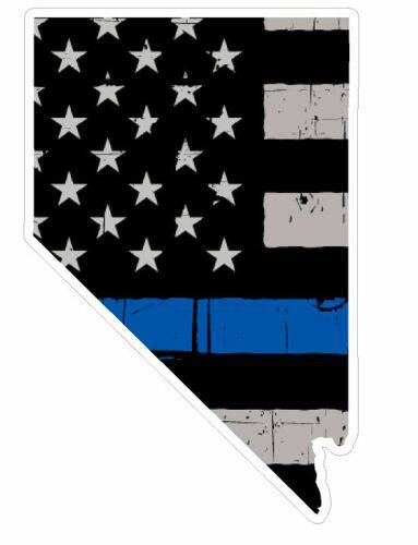 Thin Blue line decal - State of Nevada Grey Tattered Flag Decal - Various Sizes
