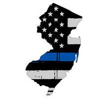 Thin Blue line decal - State of New Jersey Grey Tattered Flag Decal - Various Sizes