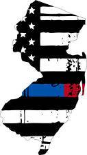 Thin Blue Red line decal - State of New Jersey tattered Flag Decal - Various Sizes