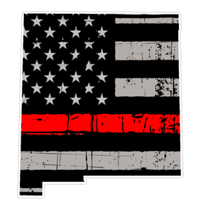 Thin Red line decal - State of New Mexico Grey Tattered Flag - Various Sizes