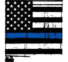 Thin Blue line decal - State of New Mexico Tattered Flag Decal - Various Sizes