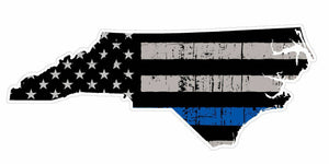 Thin Blue line decal - State of North Carolina Grey Tattered Flag Decal - Various Sizes