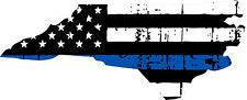 Thin Blue line decal - State of North Carolina Tattered Flag Decal - Various Sizes