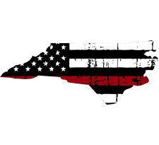 Thin Red line decal - State of North Carolina Tattered Flag - Various Sizes