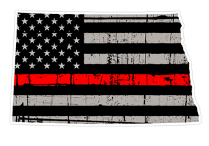 Thin Red line decal - State of North Dakota Grey Tattered Flag Decal - Various Sizes