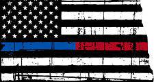 Thin Blue Red line decal - State of North Dakota tattered Flag Decal - Various Sizes