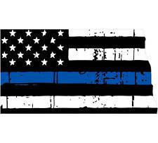 Thin Blue line decal - State of North Dakota Tattered Flag Decal - Various Sizes
