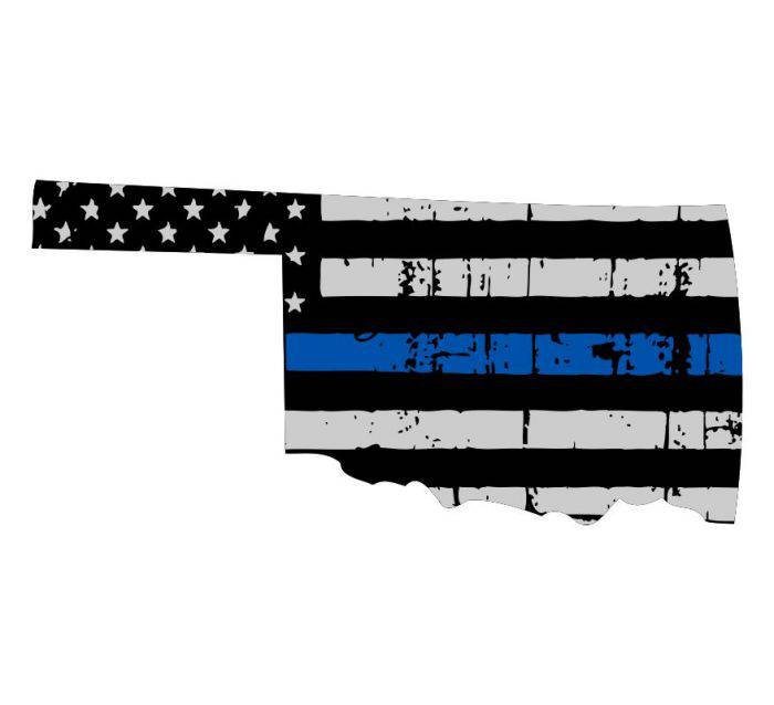 Thin Blue line decal - State of Oklahoma Thin Blue Line Grey Tattered Flag - Various Sizes