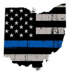 Thin Blue line decal - State of Ohio Grey Tattered Flag Decal - Various Sizes