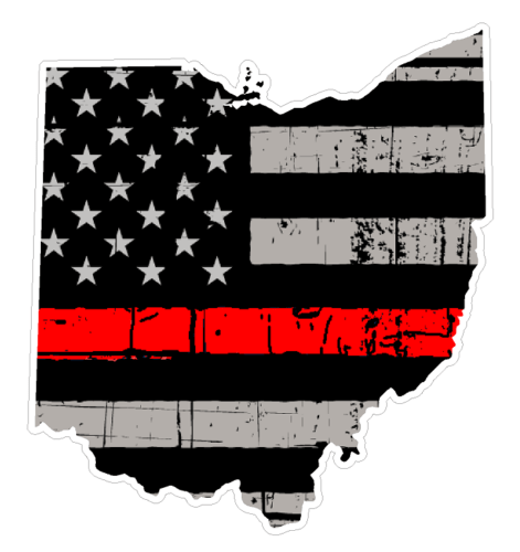 Thin Red line decal - State of Ohio Grey Tattered Flag Decal - Various Sizes