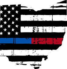 Thin Blue Red line decal - State of Ohio tattered Flag Decal - Various Sizes