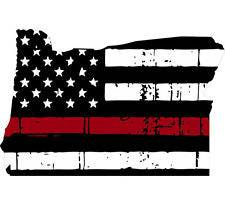Thin Red line decal - State of Oregon Tattered Flag - Various Sizes