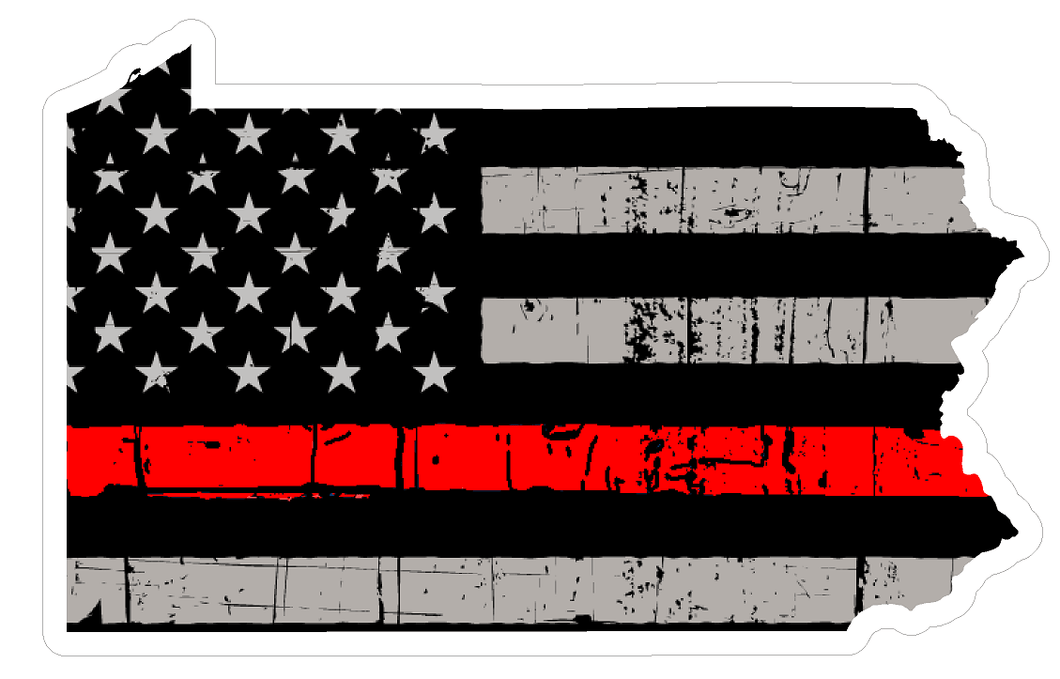 Thin Red line decal - State of Pennsylvania Thin Red Line Grey Tattered Flag - Various Sizes