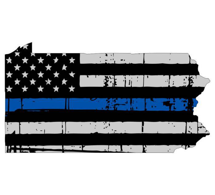 Thin Blue line decal - State of Pennsylvania Thin Blue Line Grey Tattered Flag - Various Sizes