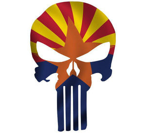 Punisher Skull Arizona Flag Window Decal Sticker Graphic - Multiple Sizes