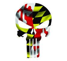 Punisher Skull Maryland Flag Window Decal Sticker Graphic - Multiple Sizes
