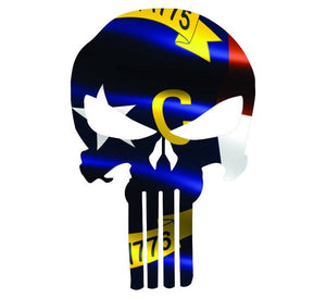 Punisher Skull North Carolina Flag Window Decal Sticker Graphic - Multiple Sizes