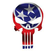 Punisher Skull Tennessee Flag Window Decal Sticker Graphic - Multiple Sizes