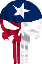Punisher Skull Texas Flag Window Decal Sticker Graphic - Multiple Sizes