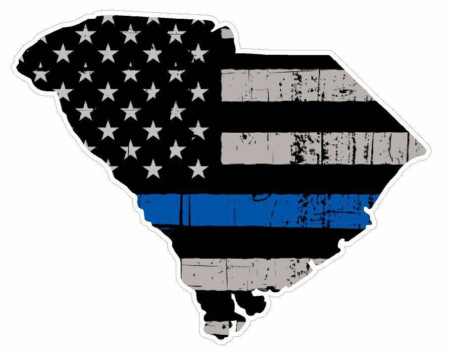 Thin Blue line decal - State of South Carolina Grey Tattered Flag Decal - Various Sizes