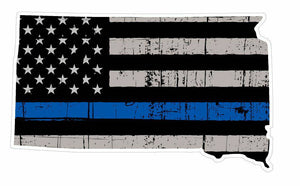 Thin Blue line decal - State of South Dakota Grey Tattered Flag Decal - Various Sizes