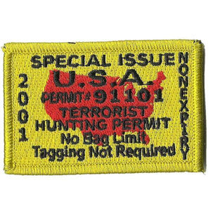 BuckUp Tactical Morale Patch Hook Terrorists Hunting Permit Patches 3x2""