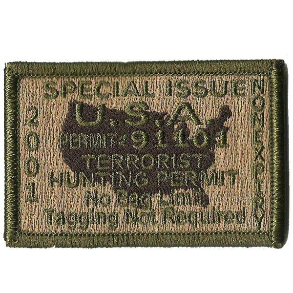 BuckUp Tactical Morale Patch Hook Terrorists Hunting Permit Patches 3x2