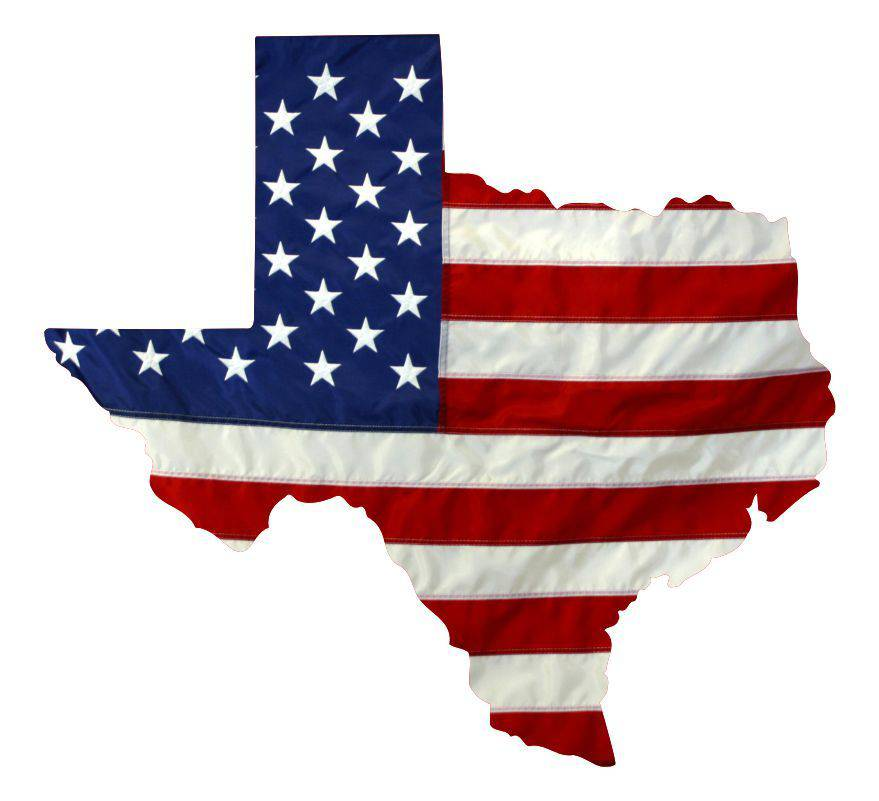 State of Texas Realistic American Flag Window Decal - Various Sizes