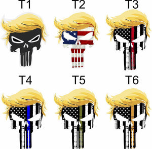 TRUMP PUNISHER USA with hair window decal bumper sticker funny pro USA NRA