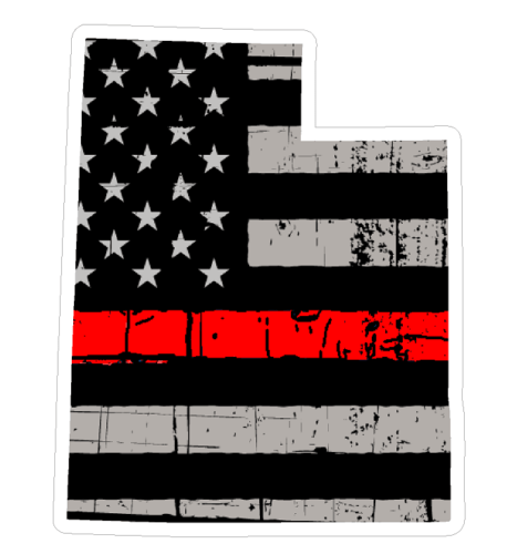 Thin Red line decal - State of Utah Grey Tattered Flag Decal - Various Sizes