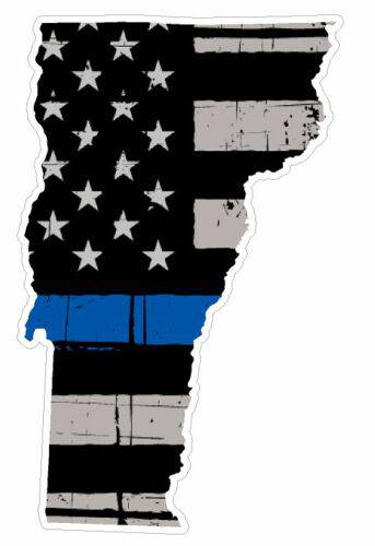 Thin Blue line decal - State of Vermont Grey Tattered Flag Decal - Various Sizes
