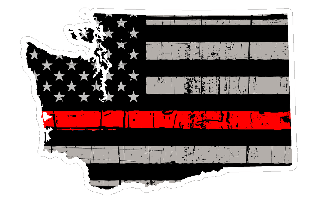 Thin Red line decal - State of Washington Grey tattered Flag Decal - Various Sizes