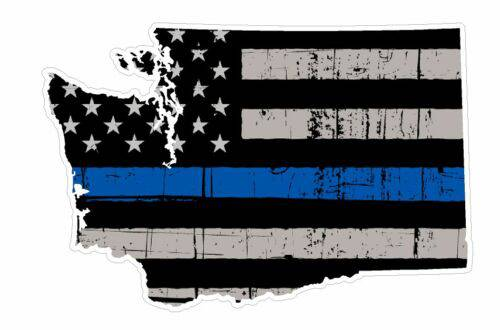 Thin Blue line decal - State of Washington Grey tattered Flag Decal - Various Sizes