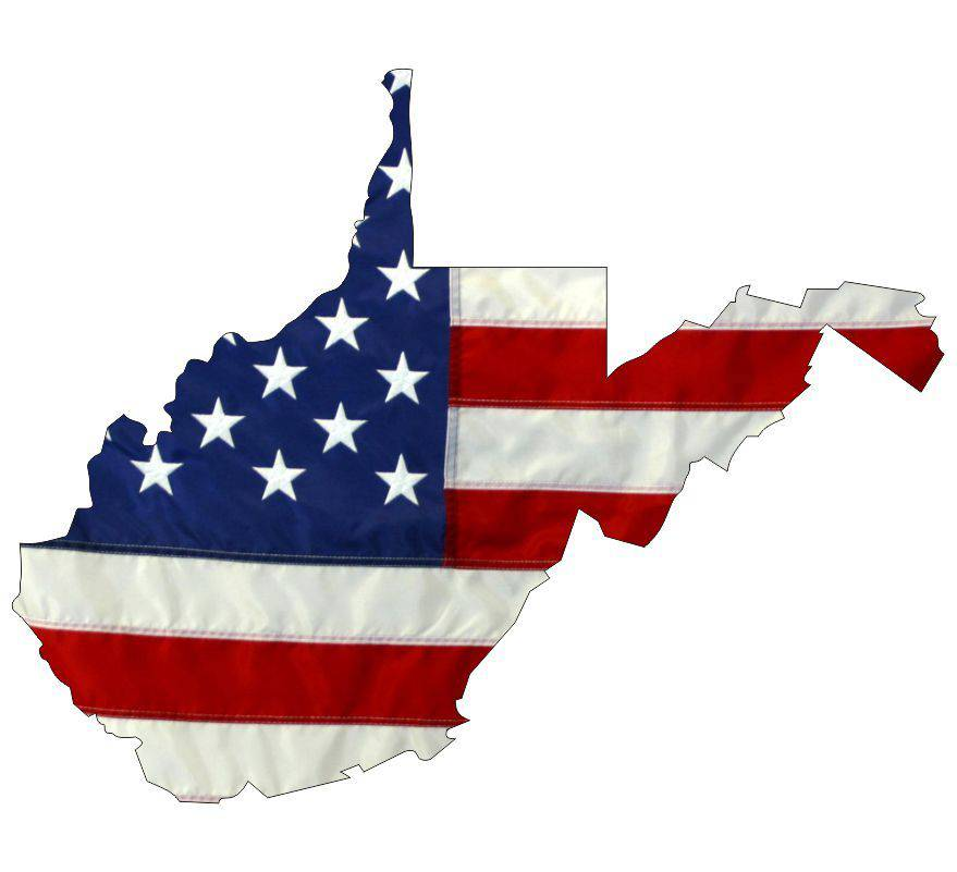 State of West Virginia Realistic American Flag Window Decal - Various Sizes