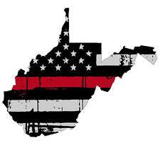 Thin Red line decal - State of West Virginia Grey Tattered Flag - Various Sizes